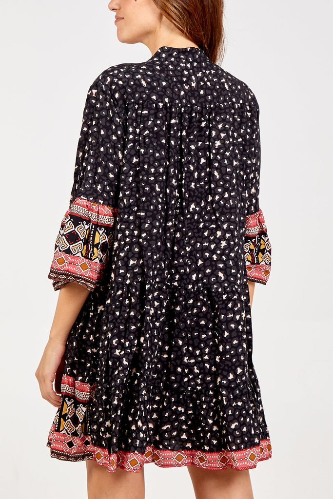 BLACK LEOPARD PRINT SMOCK DRESS