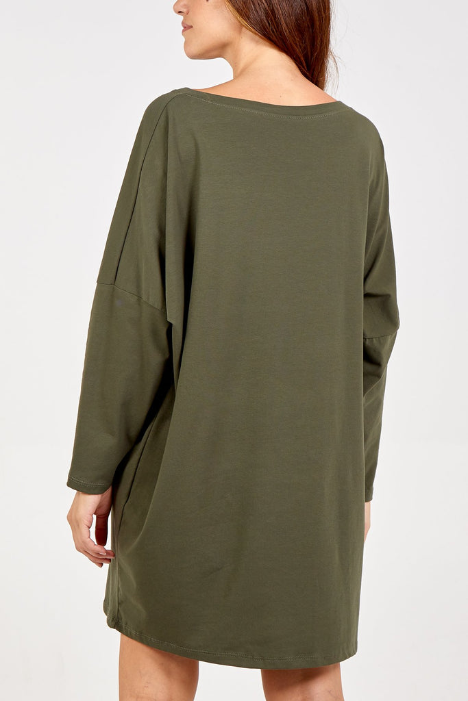 KHAKI LONG SLEEVE SHIRT DRESS