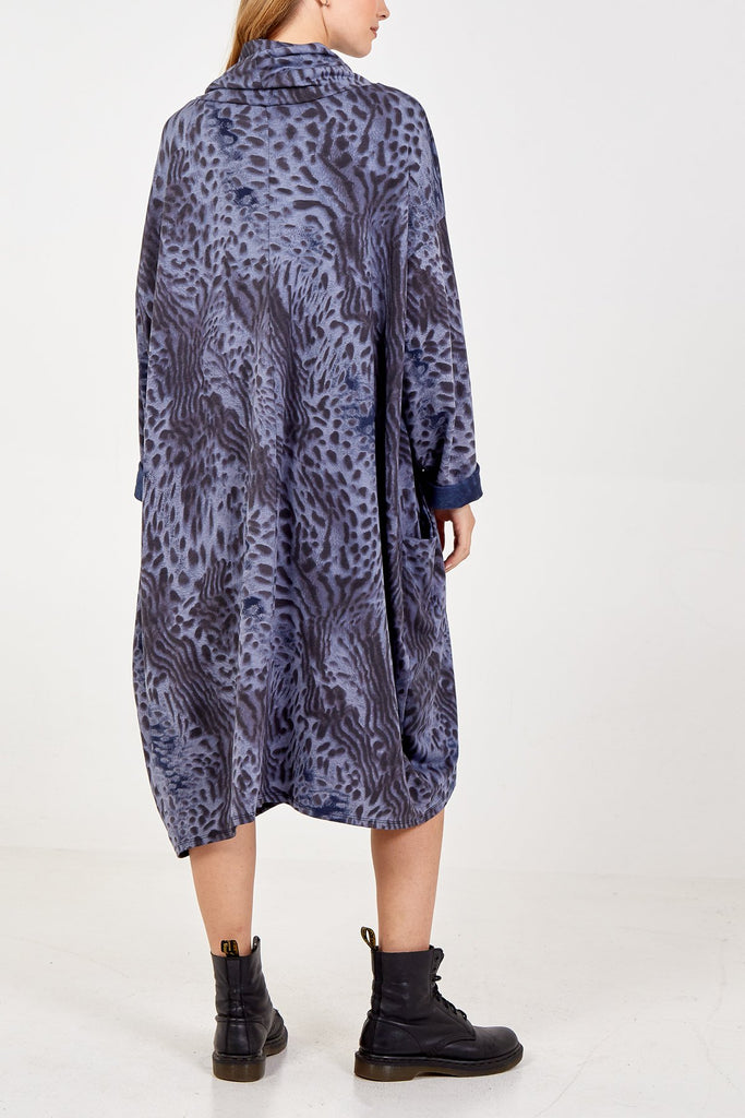 NAVY ASYMMETRIC ROLL NECK ANIMAL PRINT JUMPER DRESS