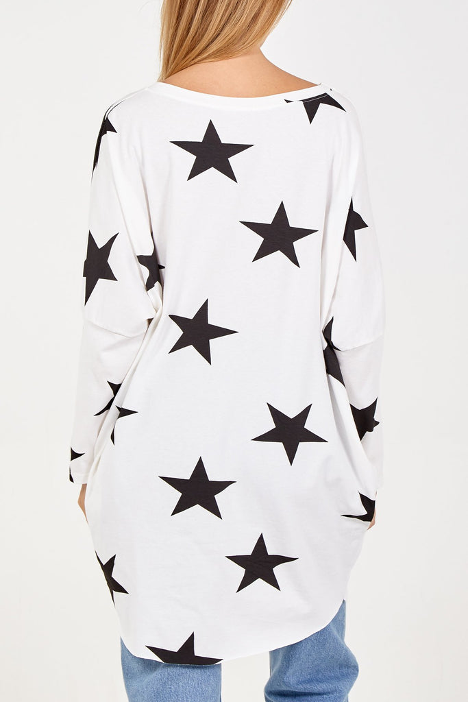 WHITE STAR PRINT TWO POCKET LONG SLEEVE OVERSIZED TOP