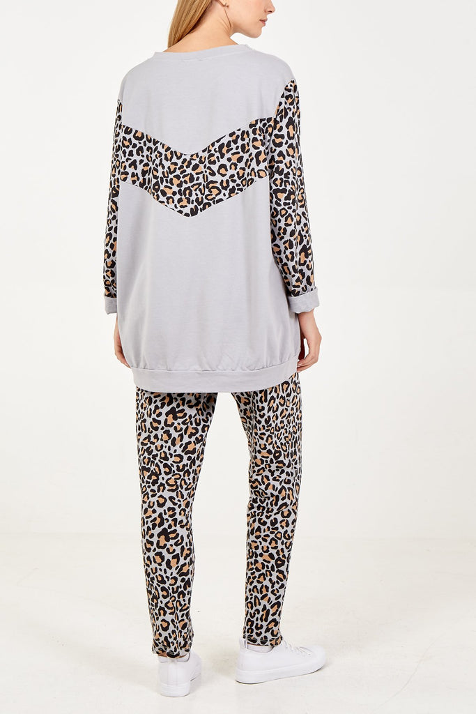 LIGHT GREY LEOPARD PANEL AND SLEEVE LOUNGE SET