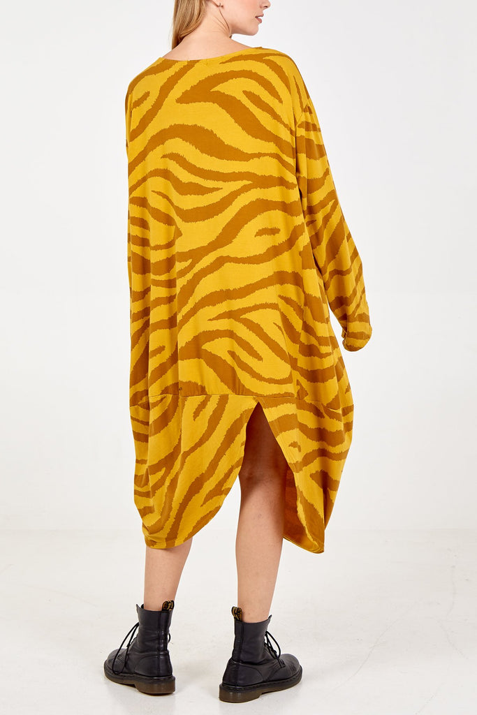MUSTARD LONG SLEEVE TWO POCKET ZEBRA PRINT DRESS