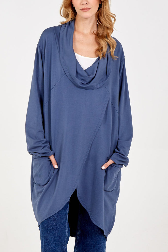 DENIM BLUE ASYMMETRIC COWL NECK TWO POCKET TOP