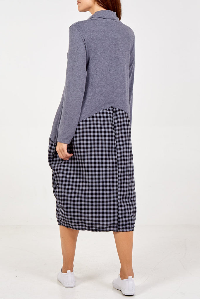 GREY COWL NECK GINGHAM SWEATER DRESS