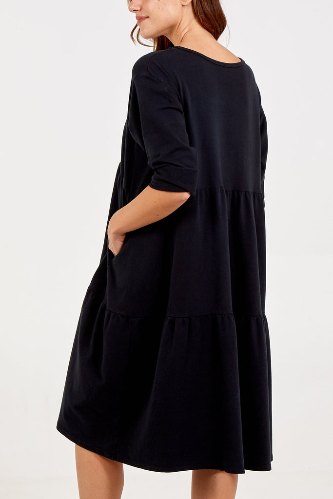 BLACK TIERED LONG SLEEVE TWO POCKET DRESS