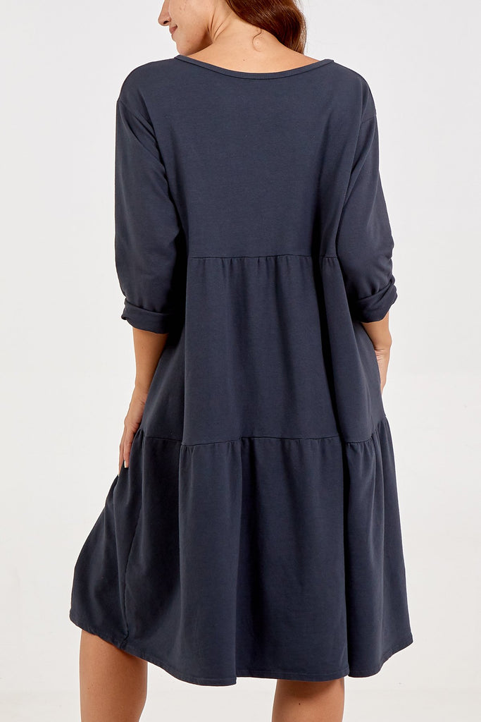 CHARCOAL TIERED LONG SLEEVE TWO POCKET DRESS