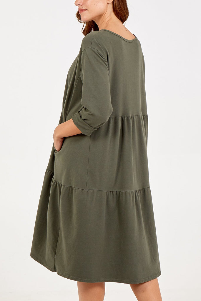 KHAKI TIERED LONG SLEEVE TWO POCKET DRESS