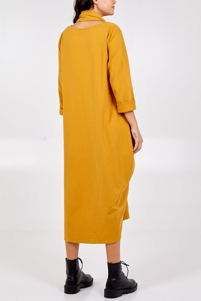 MUSTARD DOUBLE POCKET SCARF DRESS