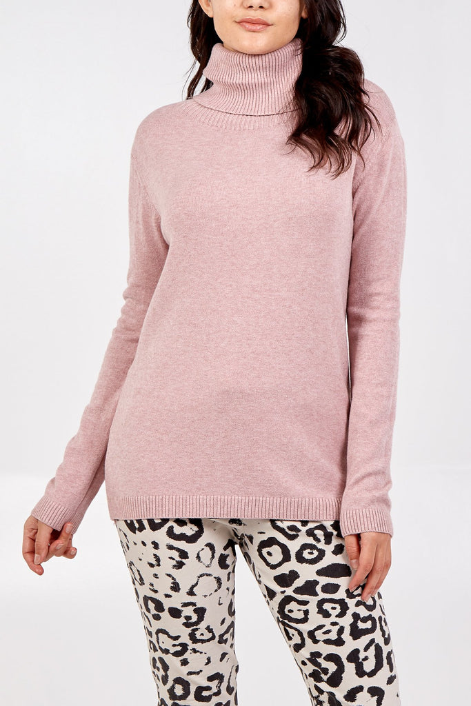 BLUSH ROLL NECK JUMPER