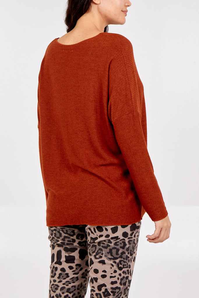 RUST PLAIN KNITTED JUMPER