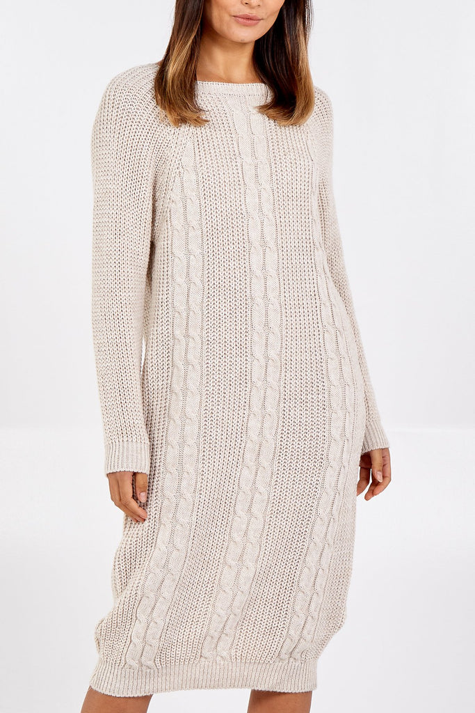 OFF WHITE LONGLINE KNITTED JUMPER DRESS