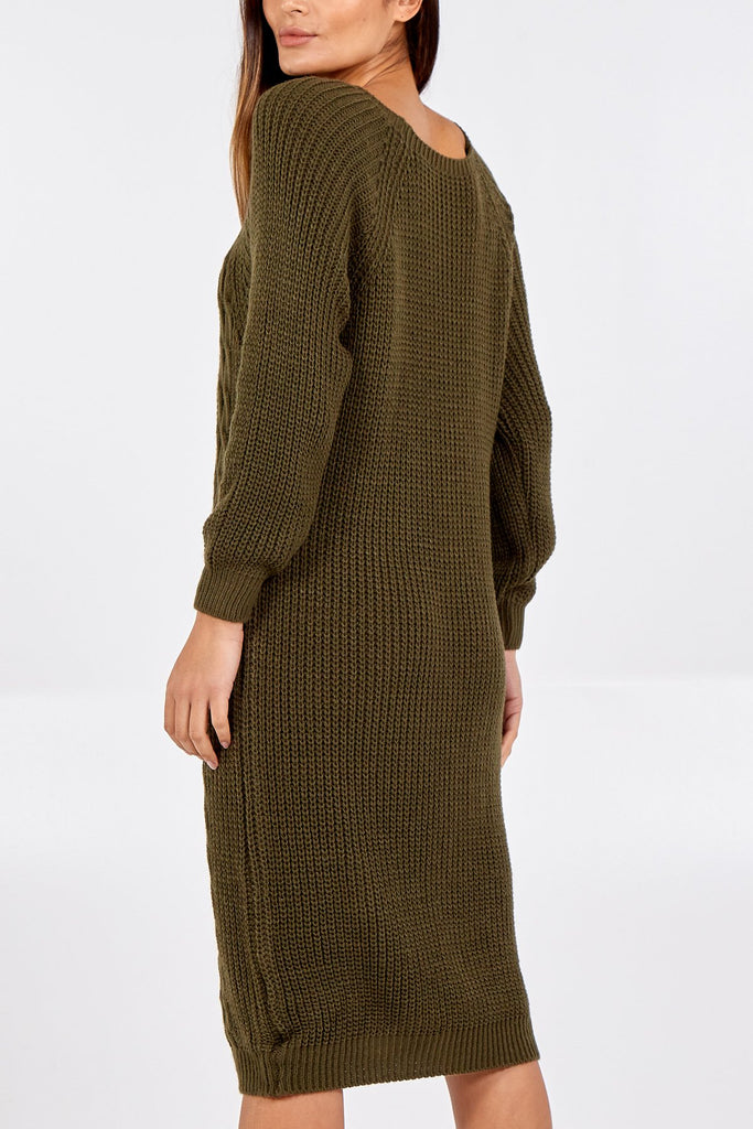 KHAKI LONGLINE KNITTED JUMPER DRESS