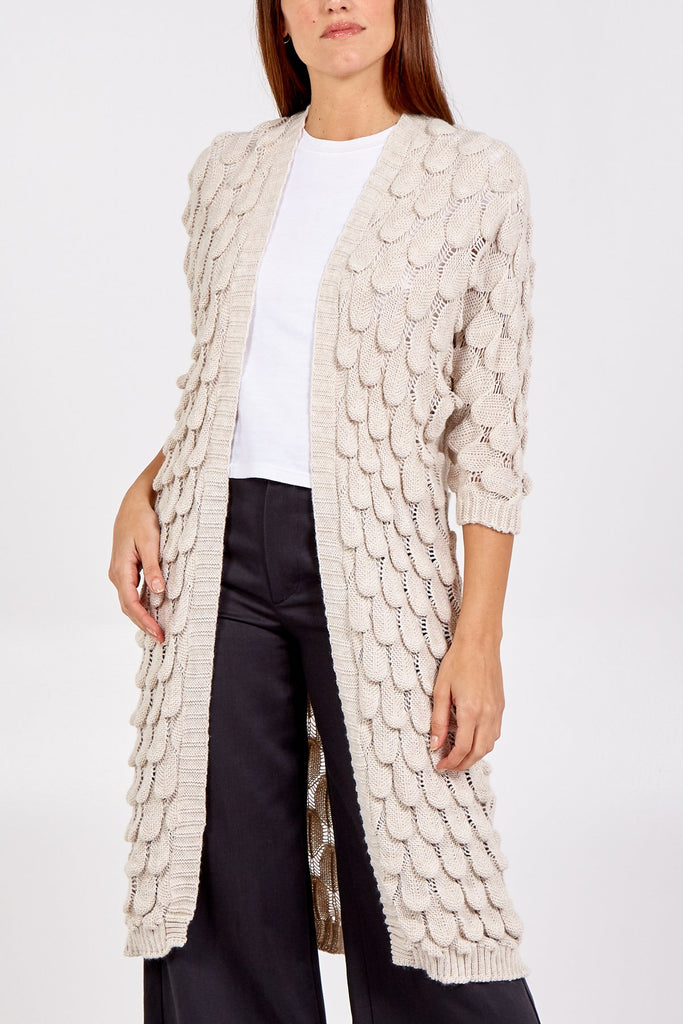 CREAM TEARDROP SCALLOP KNITTED CARDIGAN
