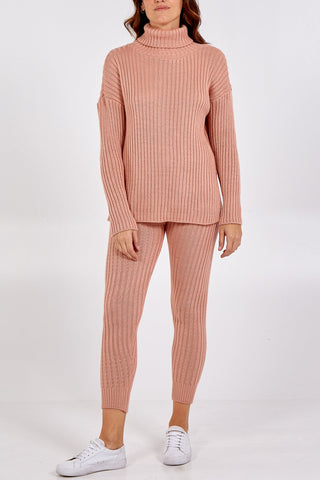 PINK KNIT ROLL NECK JUMPER AND JOGGER LOUNGE SET