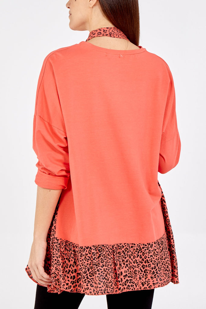 CORAL LEOPARD PRINT DETAILED JUMPER