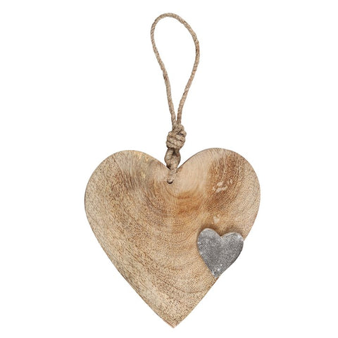 MANGO WOOD HEART HANGING DECORATION