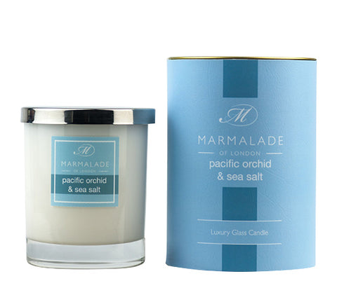 MARMALADE GLASS CANDLE PACIFIC ORCHID AND SEA SALT