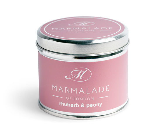RHUBARB AND PEONY TIN CANDLE BY MARMALADE