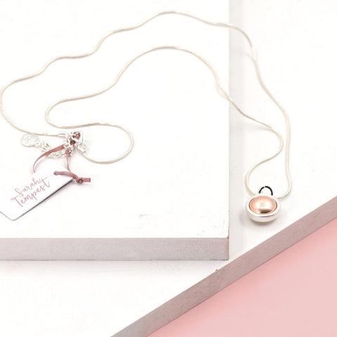 ORB SHAPED PENDANT ROSE GOLD ON LONG NECKLACE