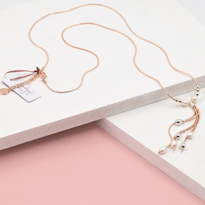 LONG ROSE GOLD SNAKE CHAIN WITH PEARLS NECKLACE