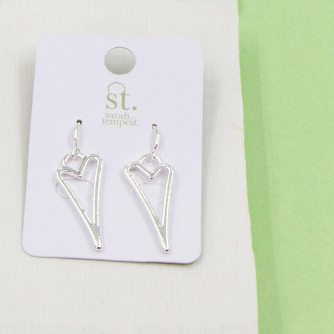 SILVER OPEN STYLIZED HEART FISH HOOK EARRINGS