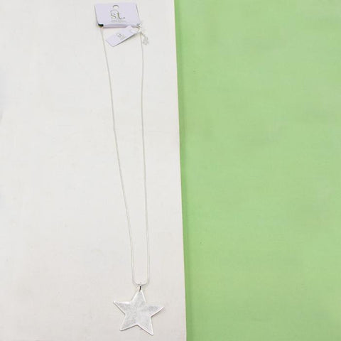 CONTEMPORARY STAR PENDANT ON LONG SNAKE CHAIN NECKLACE