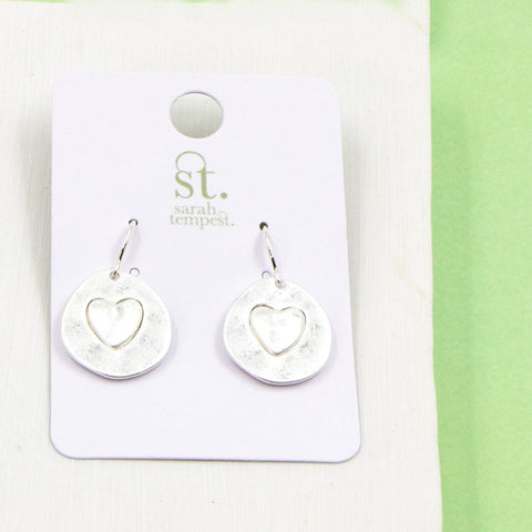 SILVER HEART IMPRESSION EARRINGS