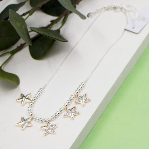 MULTI STAR PENDANT SHORT SNAKE CHAIN NECKLACE