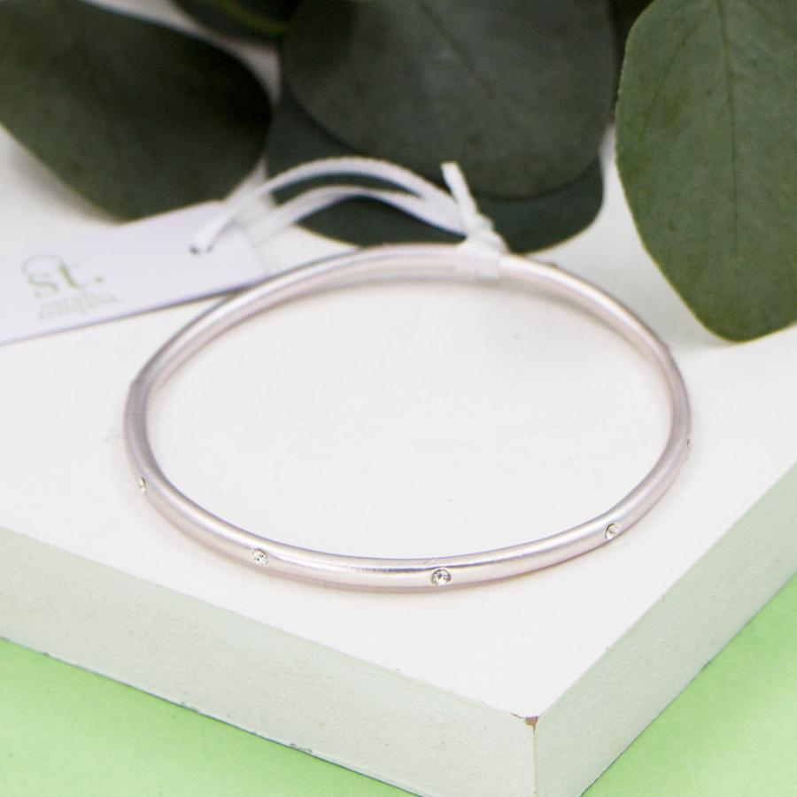 MATTE SILVER BANGLE WITH CRYSTALS