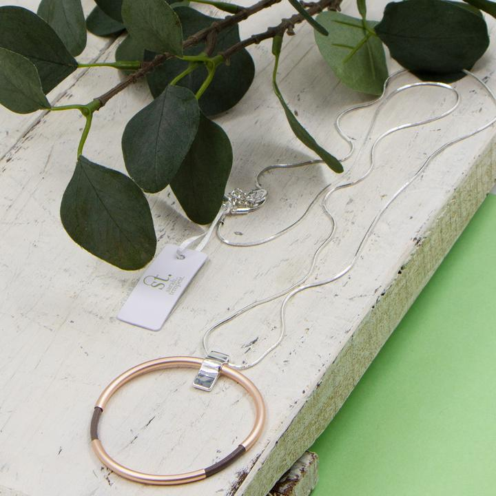 LEATHER WITH TUBE RING PENDANT ON LONG SNAKE CHAIN NECKLACE