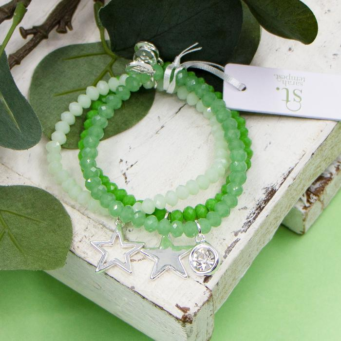 GREEN COLOURED BEADED BRACELETS WITH CRYSTAL AND STAR