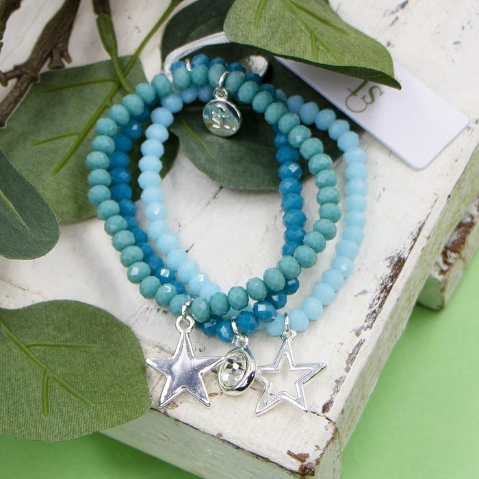 TURQUISE COLOURED BEADED BRACELETS WITH CRYSTAL AND STAR