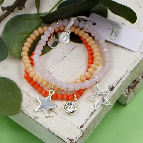 ORANGE COLOURED BEADED BRACELETS WITH CRYSTAL AND STAR