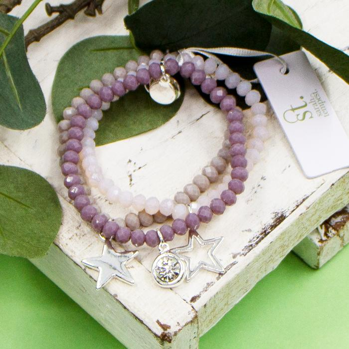 MAUVE COLOURED BEADED BRACELETS WITH CRYSTAL AND STAR