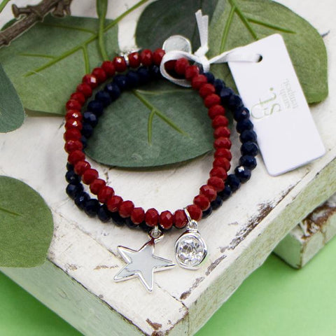 RED COLOURED BEADED BRACELETS WITH CRYSTAL AND STAR