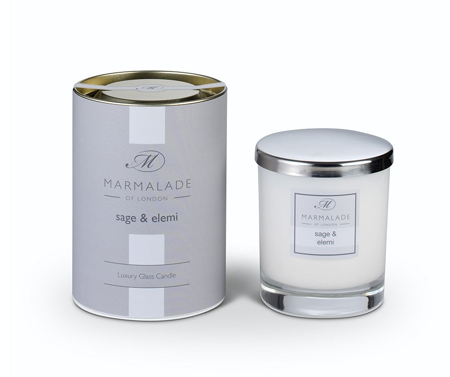 SAGE AND ELEMI LARGE GLASS CANDLE BY MARMALADE