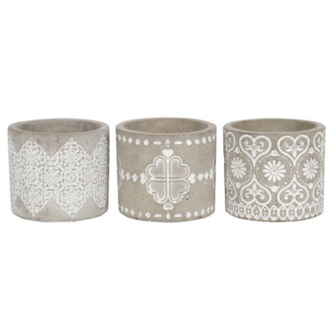 GREY PATTERN CANDLE HOLDERS