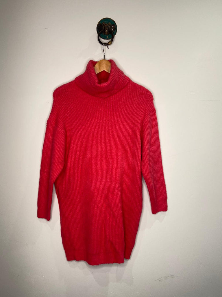 BRIGHT PINK KNITTED ROLL NECK JUMPER