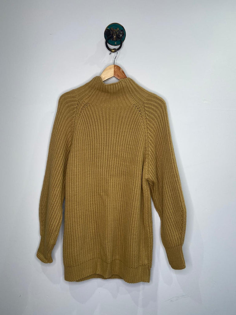 CAMEL KNITTED HIGH NECK JUMPER