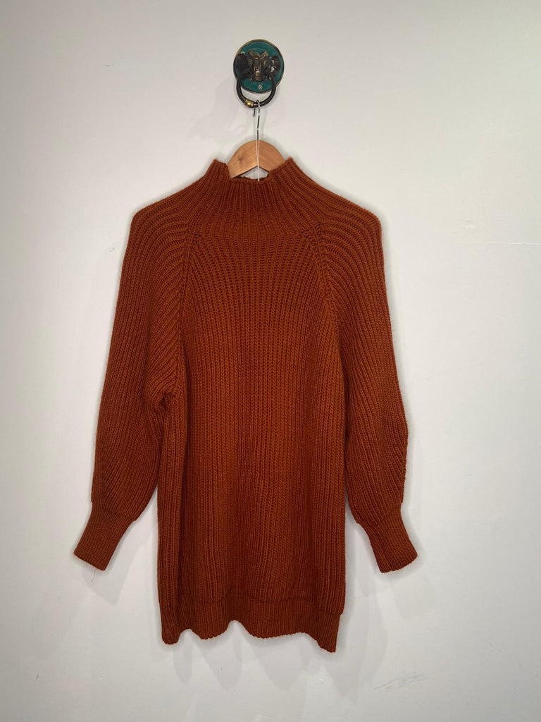 RUST KNITTED HIGH NECK JUMPER