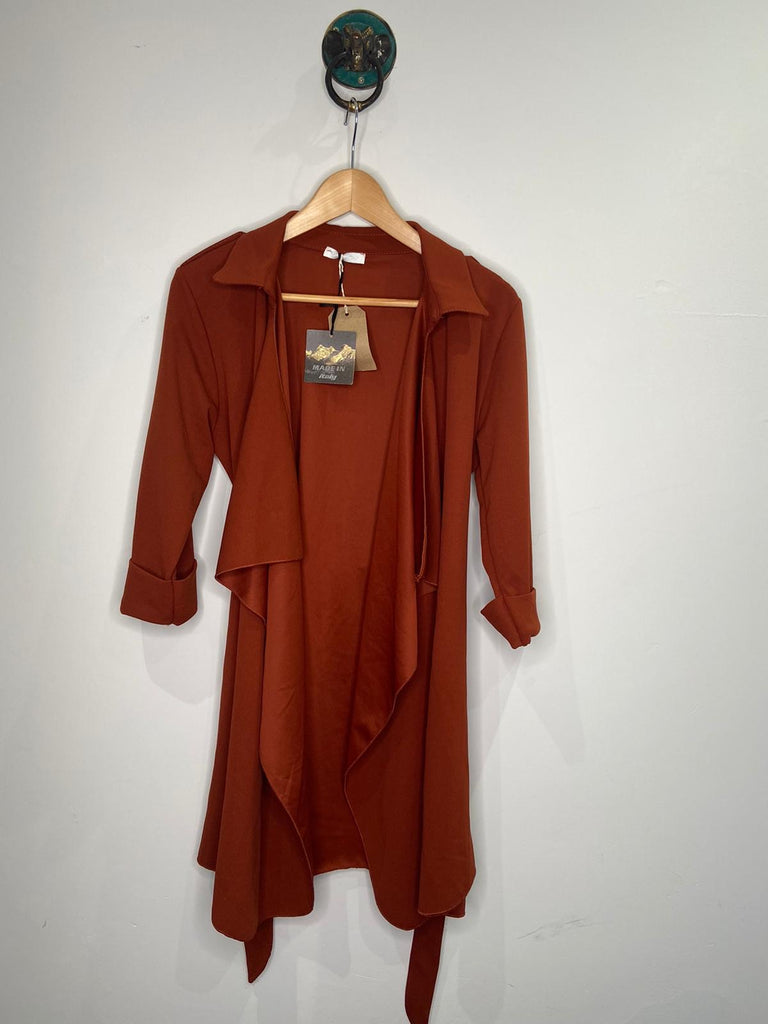RUST WATERFALL TIE CARDIGAN