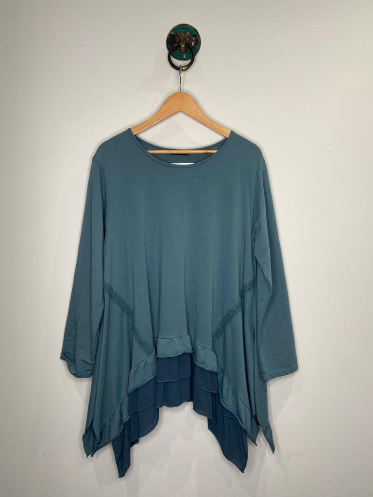 BLUE LONG SLEEVE FRILL HEM TOP
