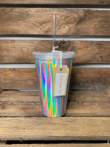 PERSONALISED HOLOGRAPHIC BOTTLE WITH STRAW