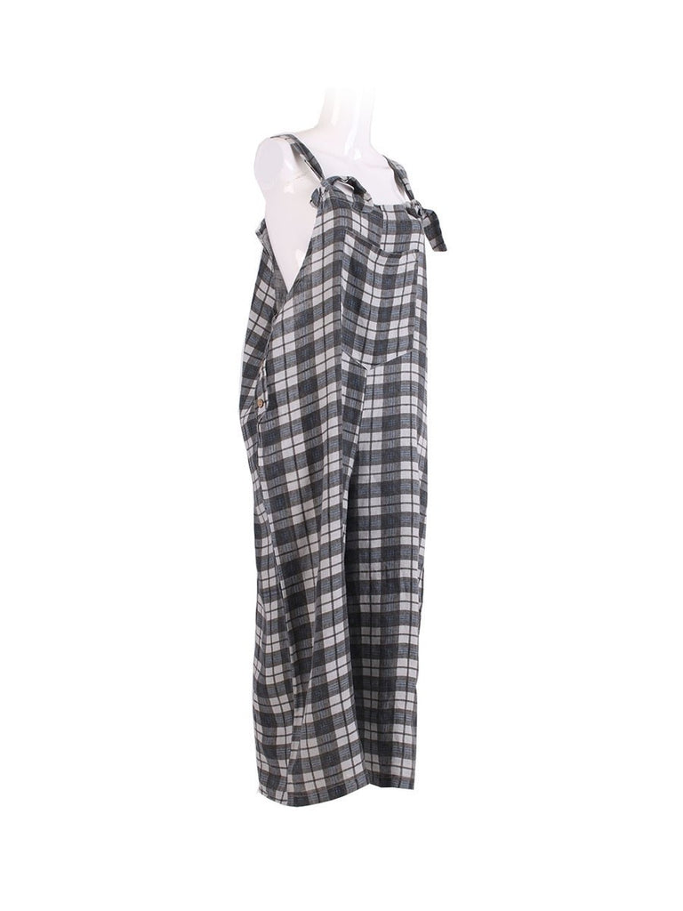 GREY CHECK LINEN DUNGAREE