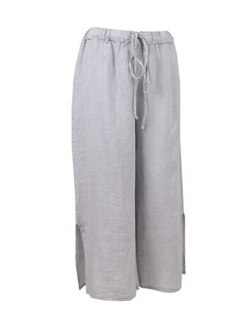 GREY SPLIT HEM LINEN TROUSERS