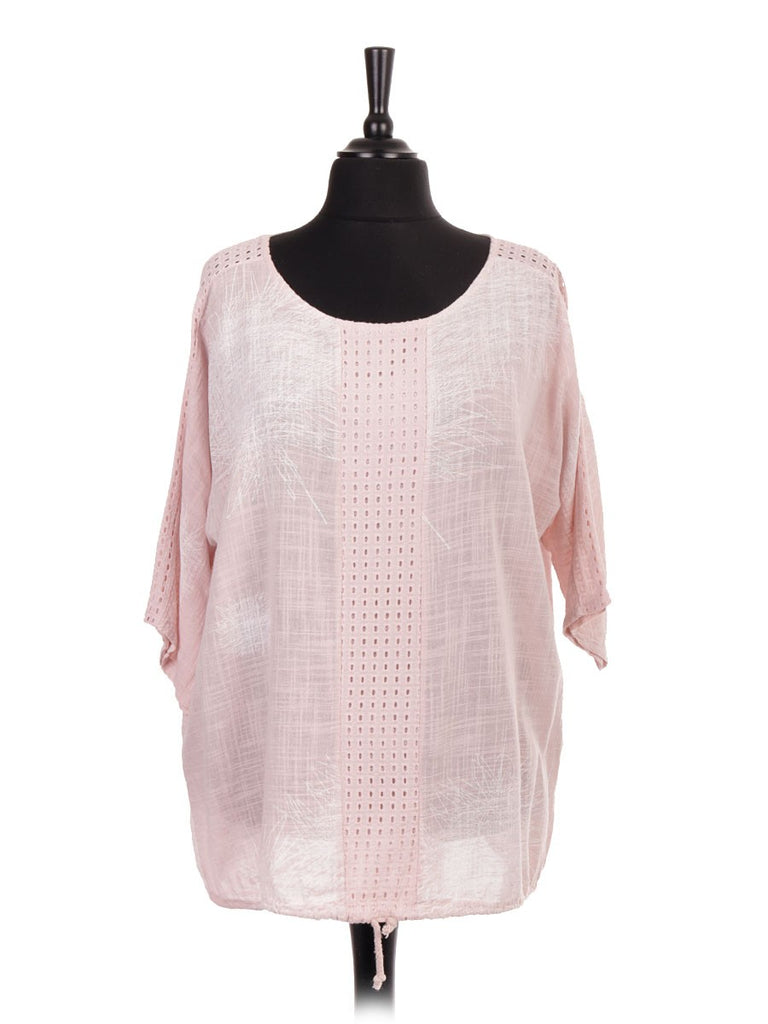 NUDE LACE PANEL GATHERED HEM TOP