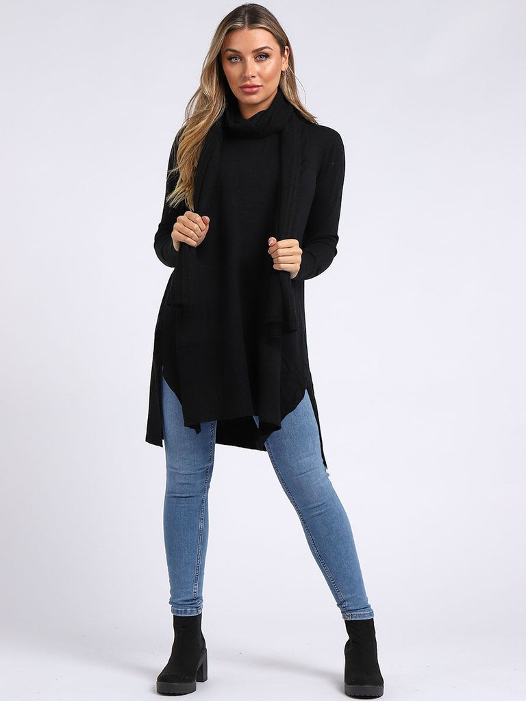 BLACK KNITTED FRONT POCKET SIDE SLIT TOP WITH SCARF