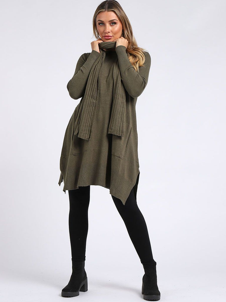KHAKI KNITTED FRONT POCKET SIDE SLIT TOP WITH SCARF