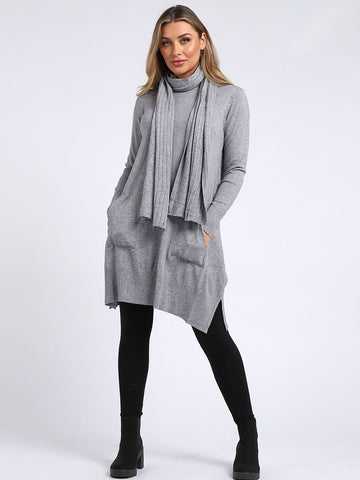 SILVER KNITTED FRONT POCKET SIDE SLIT TOP WITH SCARF