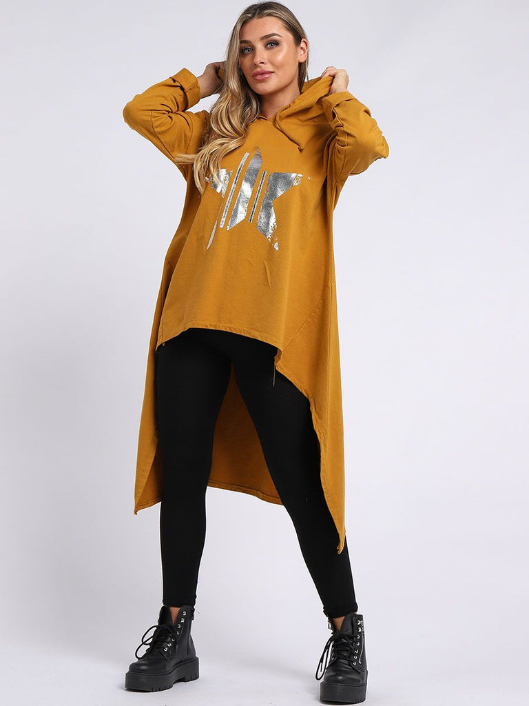 MUSTARD GLOSSY FOIL STAR PRINT COTTON HOODED TUNIC DRESS